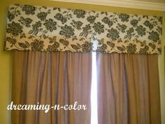 dreamingincolor: NO Sew Drapery Cornices...Maybe I could do this for my bay window in the kitchen...