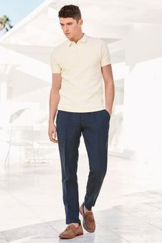 For the perfect smart-casual outfit this summer, pair your tailored trousers with a lightweight polo shirt.