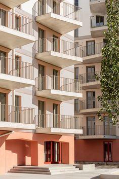 Gallery of KAP – Kapellenhof Residential Complex / AllesWirdGut Architektur + feld72 - 6 Facade Architecture, Residential Architecture, Residential Complex, Banisters, Building Exterior, Brick, Stairs, Gallery, Balconies