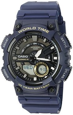 Casio Mens Heavy Duty Quartz Resin Automatic Watch Color Blue Model AEQ110W2AV *** Click image to review more details.Note:It is affiliate link to Amazon.