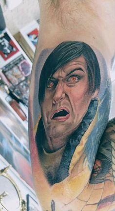 Little Nicky tattoo, Adam sandler, get in the flask tattoo, movie tattoo, realist horror movie, comedy movie tattoo, little nicky, little Nicky ink, little Nicky realistic tattoo Comedy Movies, Horror Movies, Amazing Tattoos, Cool Tattoos, Little Nicky, Horror Movie Tattoos, Adam Sandler, Flask, Tatting