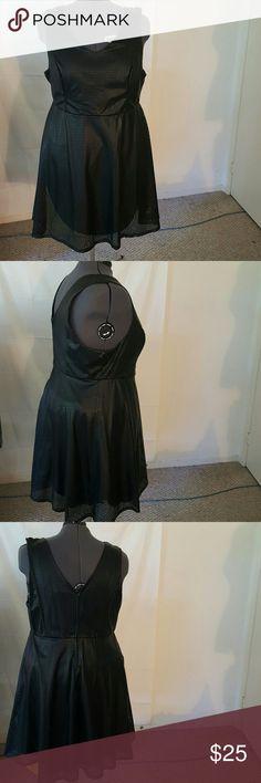 TORRID BLACK PERF SKATER DRESS Size 24 Self: 100% polyurethane  Lining: 100% polyester torrid Dresses