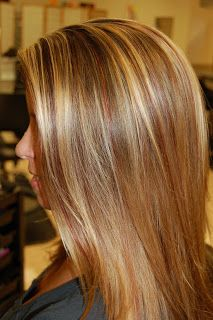 Blond highlights with red lowlights