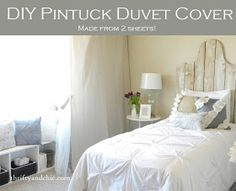 diy pintuck duvet cover -All you need are two sheets! Sew them together and use this simple trick to get the perfect pucker or texture. Super easy and so cheap!