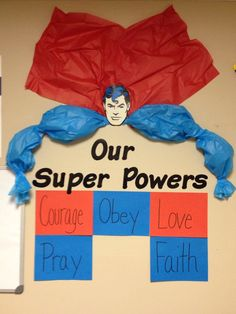 "Sunday school Bulletin Board for our ""Jesus, our real superhero"" study. Wisdom will go in red at the bottom.: Sunday school Bulletin Board for our Jesus, our real superhero study. Wisdom will go in red at the bottom. Sunday School Rooms, Sunday School Classroom, Sunday School Lessons, Sunday School Crafts, Sunday School Decorations, Hero Central Vbs, Superhero Classroom Theme, Superhero Bulletin Boards, Superhero School"