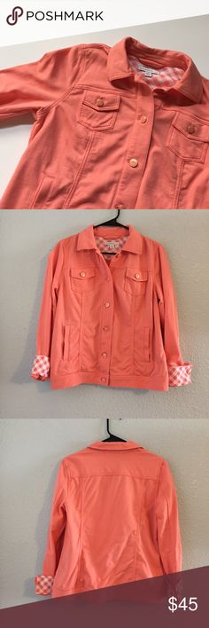 Isaac Mizrahi soft jacket Super soft and comfortable. Color is coral. Cute checkered pattern accents on sleeves and around the collar. Button front closure. Two slip hand pockets. Two button chest pockets. Lightly worn, no flaws! ❌ no trades ❌ Isaac Mizrahi Jackets & Coats