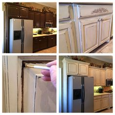 Sasha painted her kitchen cabinets in Old Ochre, distressed them, and then applied layers of dark and clear wax.