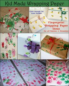 Christmas Wrapping Paper made with Handprints & Fingerprints