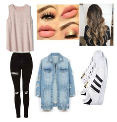 """""""Bublelel"""" by stefanie-ege on Polyvore featuring Gap, LE3NO, Topshop and adidas"""