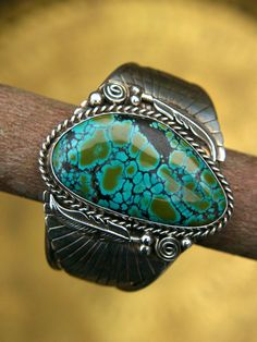 Vintage Native American Jewelry BLUE BOY Turquoise Silver Bracelet Signed DE Sterling