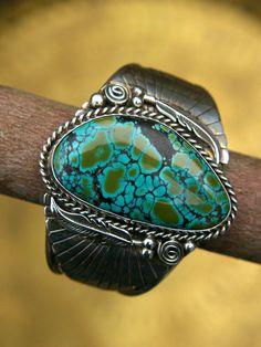 Vintage Native American Jewelry BLUE BOY Turquoise Silver Bracelet Signed DE Sterling