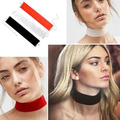 Goth Black Velvet Choker Necklace