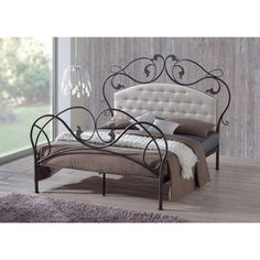 A combination of graceful curves and swirls with harmonic balanced tufted headboard form the inspiration of the Ariana Retro Modern Metal Platform Base Bed Frame. Powder coated to antique bronze finis