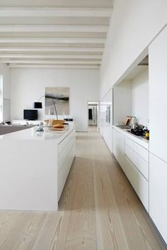 modern white kitchen with wood floors