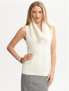 Loved this sweater so much that i bought it in 2 different colors..  Cable-knit sleeveless cowlneck | Banana Republic