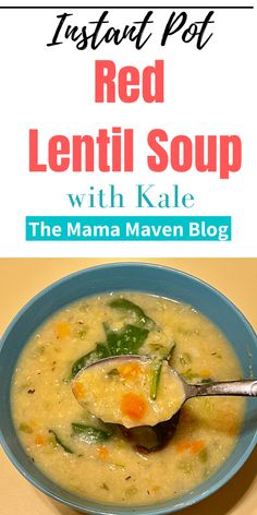 This Instant Pot Red Lentil Soup with Kale is delicious and nutritious and ready in 30 minutes. #instantpot #instantpotrecipes #recipes #souprecipes #instantpotsoups #vegan #vegansoups #veganinstantpot #instantpotvegetarianmeals Crockpot Recipes, Soup Recipes, Vegetarian Recipes, Drink Recipes, Yummy Recipes, Healthy Recipes, Lentil Kale Soup, Lentils Instant Pot, Pressure Cooker Recipes
