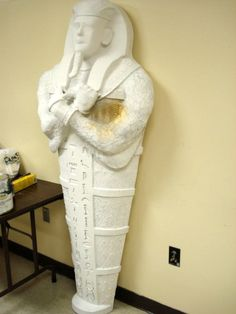 Paper Mache Sarcophagus, painted white Check out this site teachers...fabulous work.