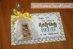 "Student Gifts Discover Helping Hands {a Take Home Volunteer System} ""Thank you for being a Helping Hand in our classroom!"" Great end of the year thank you! School Gifts, Student Gifts, Teacher Gifts, Daycare Gifts, Teacher Helper, School Stuff, Volunteer Appreciation Gifts, Volunteer Gifts, Volunteer Ideas"