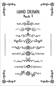 Hand Drawn Doodle Pack 1 Floral Vector Section Separator Text Divider Elements Clip Art - Available in Png, Svg, Eps, Pdf, Ai Digital Files - Hand Drawn Doodle Pack 1 Floral Vector Section Separator Text Divider Elements Clip Art – Availab - Bullet Journal Ideas Pages, Bullet Journal Inspiration, Doodle Drawings, Doodle Art, Zen Doodle, Doodle Frames, Letras Cool, Doodle Borders, Doodle Patterns