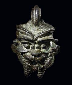 Bronze head of Pazuzu, period Neo-Assyrian (800BC-600BC).