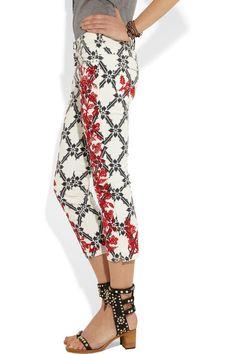 Isabel MarantGodart embroidered cropped skinny jeans