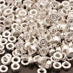 Greek Ceramic Beads-3mm Tube-Silver-1 Gram