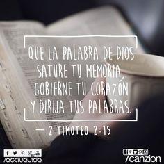 2 Timoteo 2:15 Procura con diligencia presentarte a Dios aprobado, como obrero que no tiene de qué avergonzarse, que usa bien la palabra de verdad. ♔