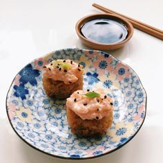 Crispy Rice with Spicy Salmon Sushi <3! (use canned tuna   and adjust spiciness for the topping.)