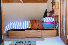 Al and Imo Custom Timber Furniture Timber Furniture, Pallet Furniture, Furniture Ideas, Diy Storage Headboard, Bookshelf Headboard, Tall Bookshelves, Blue Glass Tile, House Design, Beds