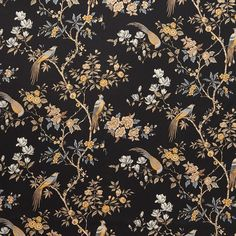 Orientalis Jet Fabric Blinds, Curtain Fabric, Caravan Curtains, Chinoiserie Fabric, Curtain Drops, Dado Rail, Types Of Curtains, Made To Measure Curtains, Buy Fabric