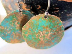 Copper Penny Patina Hammered Earrings Sterling by jodybrimhall, $18.50