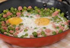 Pan-fried peas with ham and WW eggs, recipe for a tasty light and full pan, easy and quick to cook, serve with a salad. Easy Salad Recipes, Ww Recipes, Healthy Recipes, Ham And Eggs, Dessert, Food Porn, Easy Meals, Food And Drink, Nutrition