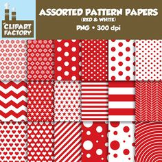 Clip Art: Assorted Patterns-Red & White 18 by TheClipartFactory