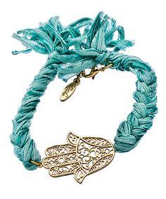 Ettika Turquoise Vintage Ribbon Bracelet with Gold Hamsa Charm