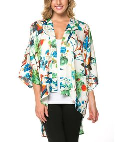 Look at this Mittoshop Ivory & Blue Tropical Hi-Low Open Cardigan on today! Types Of Coats, Open Cardigan, Portfolio Design, My Design, That Look, Kimono Top, Tropical, Ivory, Tunic Tops