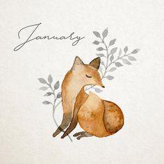 Forest animals watercolor calendar - fox