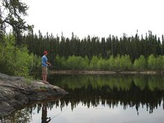 #Fishing for northern pike off the rocks in Northern #Saskatchewan.