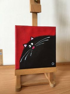 Original acrylic mini canvas painting STUDIO CLEARANCE black cat art red 1 #WhimsicalCatPainting