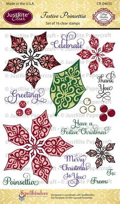 "JustRite Papercraft - Festive Poinsettia - 4"" x 6"" Clear Stamp Set designed by Amy Tedder."