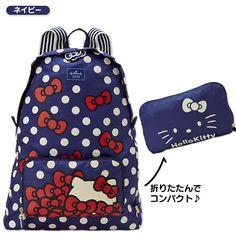 Hello Kitty Foldable Backpack Hidden Face Navy Blue SANRIO JAPAN