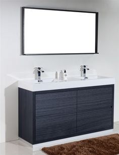 Pic On  inch Double Sink Gray Oak Finish Free Standing Modern Bathroom Vanity Six Fully Functional Drawers Cabinet es Fully Assembled Integrated Sink