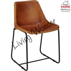 Industrial-Style-Dining-Chair-Leather-Brown-Leather-Chair-Metal-Dining-Chairs