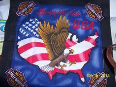 """HARLEY-DAVIDSON BANDANNA EAGLE W/STARS-N-STRIPES """"BORN IN THE USA"""" USA SHAPED"""