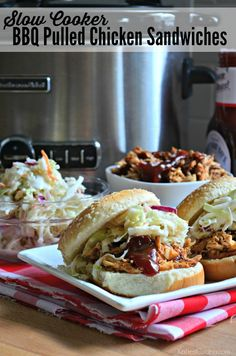 Perfect crockpot barbeque dinner recipe with whatever sweet sauce you like! Slow Cooker Bbq, Slow Cooker Recipes, Crockpot Recipes, Cooking Recipes, Pulled Chicken Sandwiches, Chicken Sandwich Recipes, Delicious Dinner Recipes, Lunch Recipes, Crock Pot Cooking