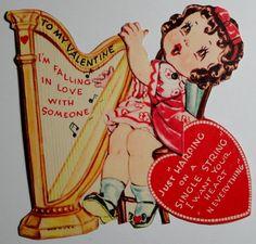 Cute Valentine's Day card with a harpist. #valentine #harp #harpist