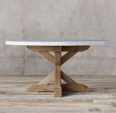 Salvaged Wood & Marble X-Base Round Dining Table