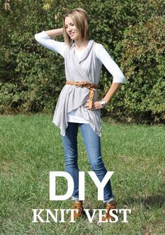 PIN FOR LATER -- Check out this tutorial for the easiest knit vest you will ever see!