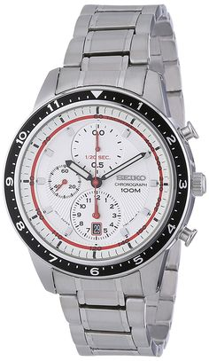 Seiko Chronograph White Dial Stainless Steel Mens Watch SNDF35P1 >>> Awesome product. Click the image