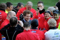 Prince Harry Greets Dallaglio Cycle Slam Team At Twickenham Stadium