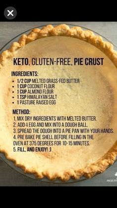 Keto Gluten Free Pie Crust Almond and Coconut Flour Gluten Free Pie Crust, Gluten Free Baking, Paleo Pie Crust, Almond Flour Pie Crust, Low Carb Pie Crust, Pie Crusts, Grain Free Pie Crust Recipe, Gluten Free Pecan Pie, Almond Flour Cakes